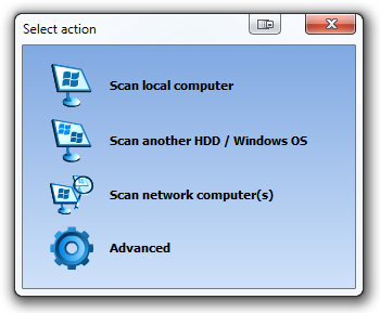 Recover Keys Select Action dialog