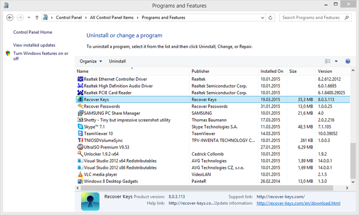 Programs and Features dialog in Windows 7