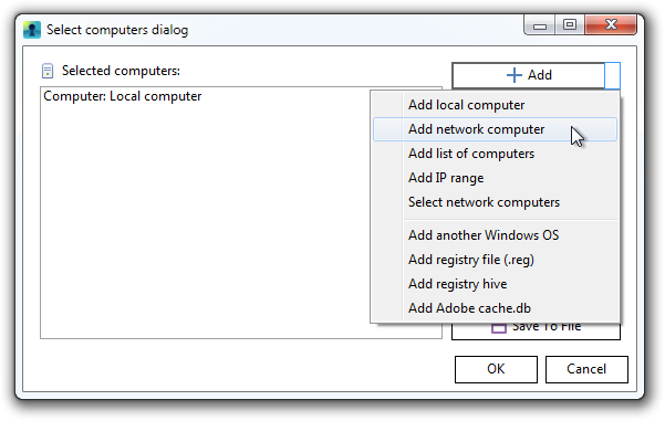 Select computers dialog window