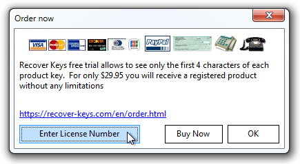 Order now / Enter License Number Window
