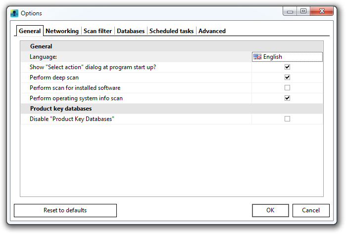 Options dialog of Recover Keys
