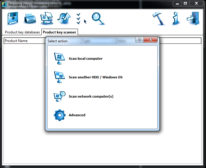 Recover Keys Select Action Dialog Box