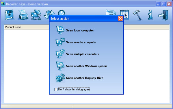 Recover Keys. Recover product key. Scan options window