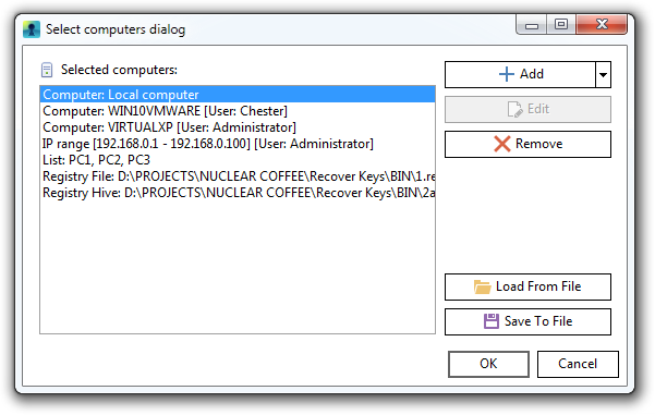 Recover Keys. 'Select computers' dialog