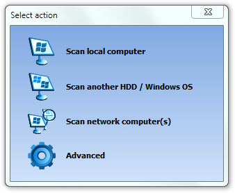 Select action dialog of Recover Keys